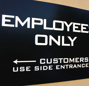 Laser Cut and Engraved Employees Only Door Sign